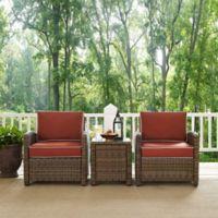 Crosley Bradenton 3-Piece Wicker Armchair Conversation Set in Sangria