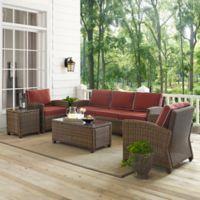 Crosley Bradenton 5-Piece Wicker Sofa Conversation Set in Sangria