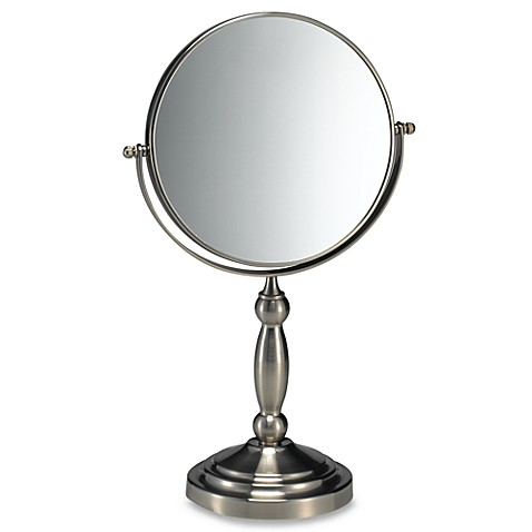satin nickel bathroom mirror satin nickel two sided vanity mirror bed bath amp beyond 20309