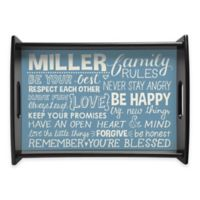 Family Rules Handled Serving Tray in Blue