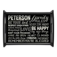 Family Rules Handled Serving Tray in Black