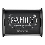"""Family"" Handled Serving Tray in Grey"