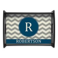 Family Name Chevron Handled Serving Tray in Blue