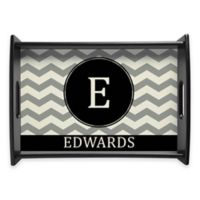 Family Name Chevron Handled Serving Tray in Black