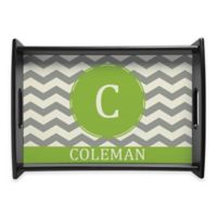 Family Name Chevron Handled Serving Tray in Green