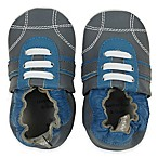 Tommy Tickle Size 0-6M Soft Sole Leather Sport Shoe in Grey/Cobalt