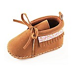Rising Star™ Size 3-6M Flower Fringe Moccasin Boot in Brown