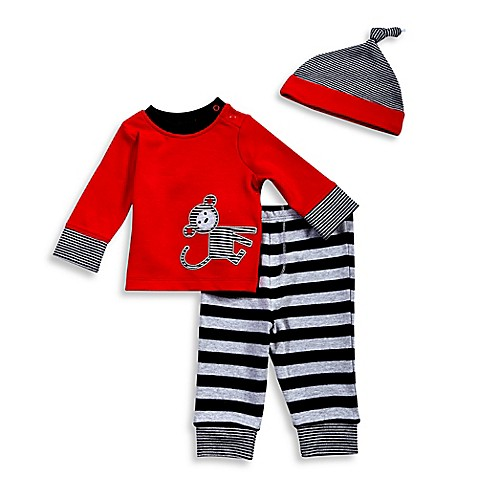 Offspring® 3-Piece Monkey Long Sleeve T-Shirt, Pant, and Hat Set in Red/Black