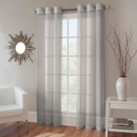 Crushed Voile 108-Inch Grommet Top Sheer Window Curtain Panel in Fog