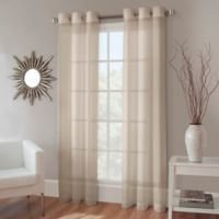Crushed Voile 108-Inch Grommet Top Sheer Window Curtain Panel in Linen