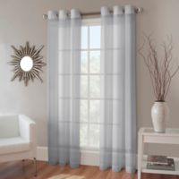Crushed Voile 108-Inch Grommet Top Sheer Window Curtain Panel in Pearl Blue