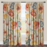 Laural Home® Watercolor Poppies 84-Inch Rod Pocket Sheer Window Curtain Panel in Red