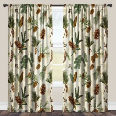 Laural Home® Pinecone 95 Inch Rod Pocket Sheer Window Curtain Panel