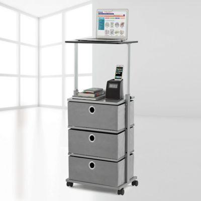 Bon Studio 3B™ 3 Drawer Adjustable Top Storage Cart In Grey