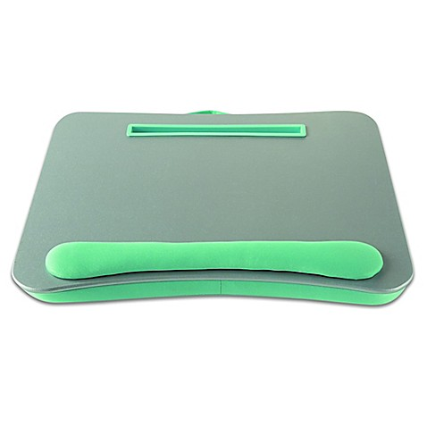 Portable Lap Desk With Media Slot In Silver Aqua Bed