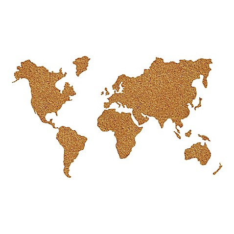 WallPops Die Cut Cork World Map Pinboard Decal with Pushpins in Brown Bed