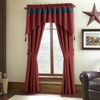 Remington Lodge Cabot 84-Inch Rod Pocket Lined Window Curtain Panel Pair in Red