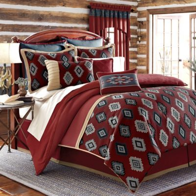 remington lodge cabot california king comforter set in red