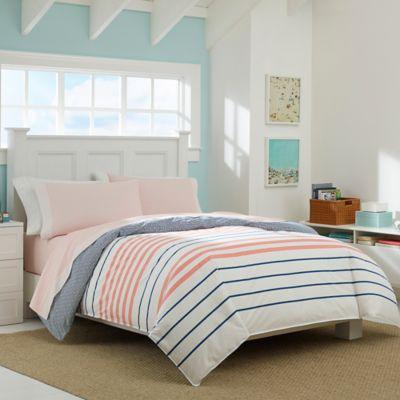 nautica staysail reversible queen comforter set in medium pink
