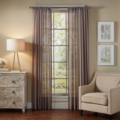 SolarShieldR Borinda 84 Inch Rod Pocket UV Filtering Sheer Window Curtain Panel In Grey