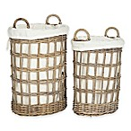 Safavieh Adisa Lined Rattan Hamper in Grey/White (Set of 2)