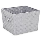 Large Woven Storage Tote in Light Grey