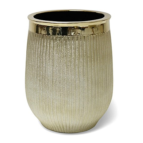 Hammered ceramic wastebasket in gold bed bath beyond for Gold bathroom wastebasket