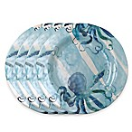 tag Octopus 4-Piece Dinner Plate Set in Blue/White