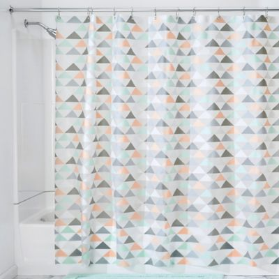 orange and teal shower curtain. InterDesign Triangles Shower Curtain Buy Vinyl from Bed Bath  Beyond
