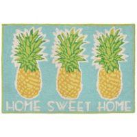 Trans-Ocean Front Porch Home Sweet Home 2-Foot 6-Inch x 4-Foot Indoor/Outdoor Door Mat in Aqua