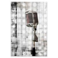 Marmont Hill Retro Microphone 30-Inch x 45-Inch White Wood Wall Art