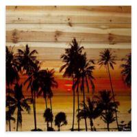 Parvez Taj Sunset Palms 60-Inch x 40-Inch Wood Wall Art