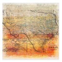 Marmont Hill Texas Map 24-Inch x 24-Inch Canvas Wall Art