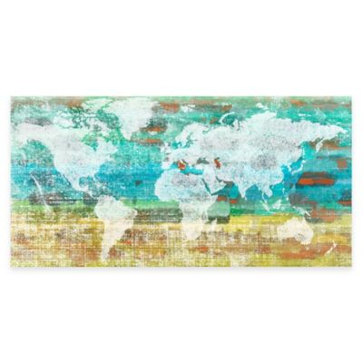 Buy world map wall decor from bed bath beyond marmont hill aqua day 24 inch x 12 inch canvas wall art gumiabroncs Image collections
