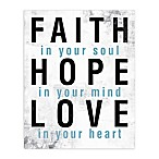 Faith Hope Love Blue 8-Inch x 10-Inch Canvas Wall Art