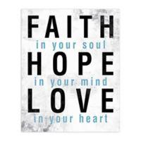 Faith Hope Love Blue 16-Inch x 20-Inch Canvas Wall Art