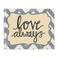 Love Always Grey Chevron 10-Inch x 8-Inch Canvas Wall Art