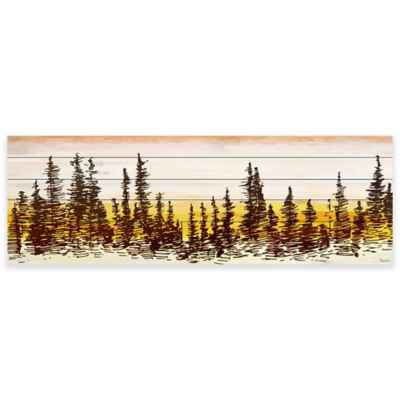 Parvez Taj Pine Tree Sunset White Wood Wall Art