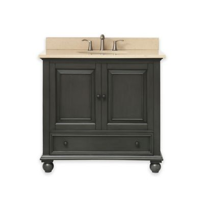 avanity thompson 37 inch single vanity with marble top in charcoalgalala beige - Bathroom Cabinets Bed Bath And Beyond