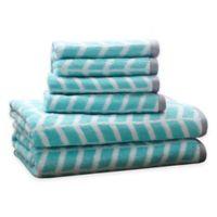 Intelligent Design Nadia 6-Piece Cotton Jacquard Towel Set in Teal