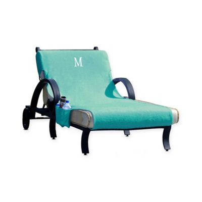 Linum Home Textiles Chaise Lounge Cover With Accessory Pockets In Aqua