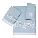 Avanti Sequin Shells Velour Hand Towel in Aqua