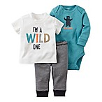 carter's® Size 3M 3-Piece Babysoft   Wild One  T-Shirt, Pant, and  Bear Hugs  Bodysuit Set