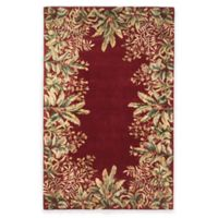 KAS Emerald Tropical Border 5-Foot 3-Inch x 8-Foot 3-Inch Area Rug in Red