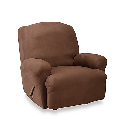 Sure Fit 174 Stretch Suede Straight Arm Recliner Cover In Chocolate Bed Bath Amp Beyond