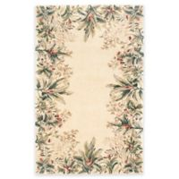 KAS Emerald Tropical Border 8-Foot x 11-Foot Area Rug in Ivory