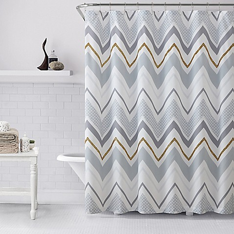 Vcny Serendipity Shower Curtain In Grey Gold Bed Bath