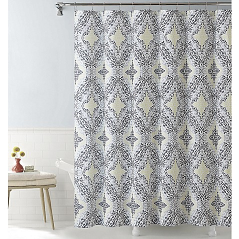 Vcny Connell Shower Curtain In Yellow Grey Bed Bath Beyond