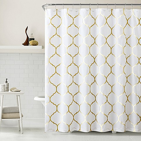 Vcny Metallic Ogee Shower Curtain In Gold White Bed Bath