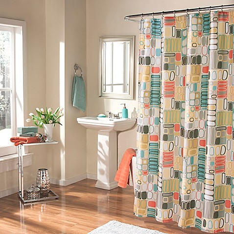 turquoise and coral shower curtain. m style Mod Blocks Shower Curtain in Coral Turquoise  Bed Bath